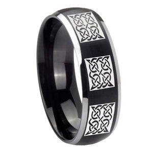 8mm Multiple Celtic Dome Brushed Black 2 Tone Tungsten Mens Engagement Band