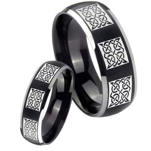 His Hers Multiple Celtic Dome Brushed Black 2 Tone Tungsten Men's Ring Set