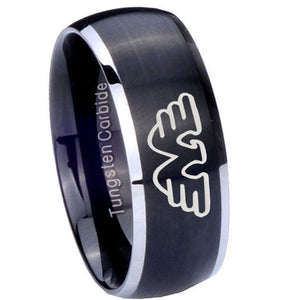 8mm Waylon Jennings Dome Brushed Black 2 Tone Tungsten Carbide Engraved Ring