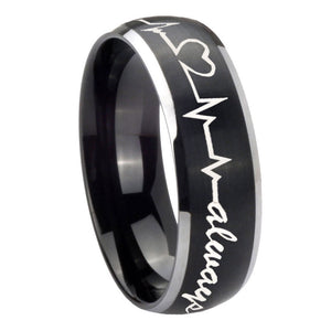 8mm Heart Beat forever Heart always Dome Brushed Black 2 Tone Tungsten Mens Ring