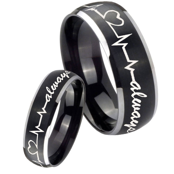 His Hers Heart Beat forever Heart always Dome Brushed Black 2 Tone Tungsten Mens Ring Set
