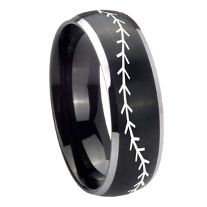8mm Baseball Stitch Dome Brushed Black 2 Tone Tungsten Wedding Band Ring