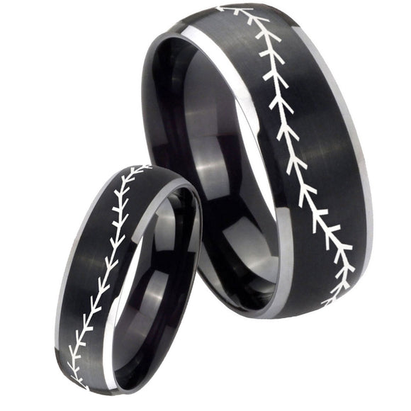 His Hers Baseball Stitch Dome Brushed Black 2 Tone Tungsten Engraving Ring Set