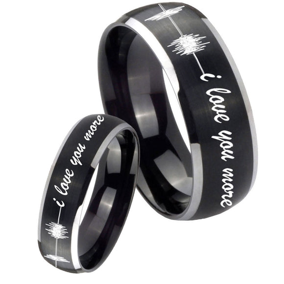 His Hers Sound Wave, I love you more Dome Brushed Black 2 Tone Tungsten Men Rings Set