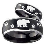 His Hers Bear and Paw Dome Brushed Black 2 Tone Tungsten Mens Wedding Ring Set