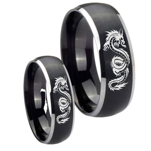 His and Hers Dragon Dome Brushed Black 2 Tone Tungsten Wedding Band Mens Set