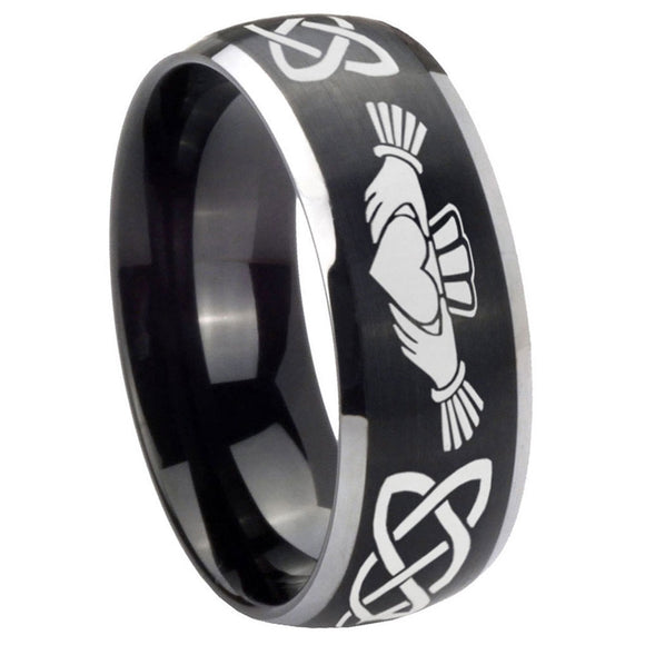8mm Irish Claddagh Dome Brushed Black 2 Tone Tungsten Carbide Wedding Band Ring