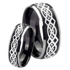 His Hers Celtic Knot Dome Brushed Black 2 Tone Tungsten Mens Engagement Band Set