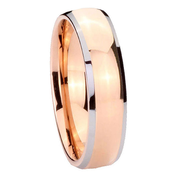 5MM Tungsten Carbide Rose Gold Dome IP Beveled Silver Edges Women Ring