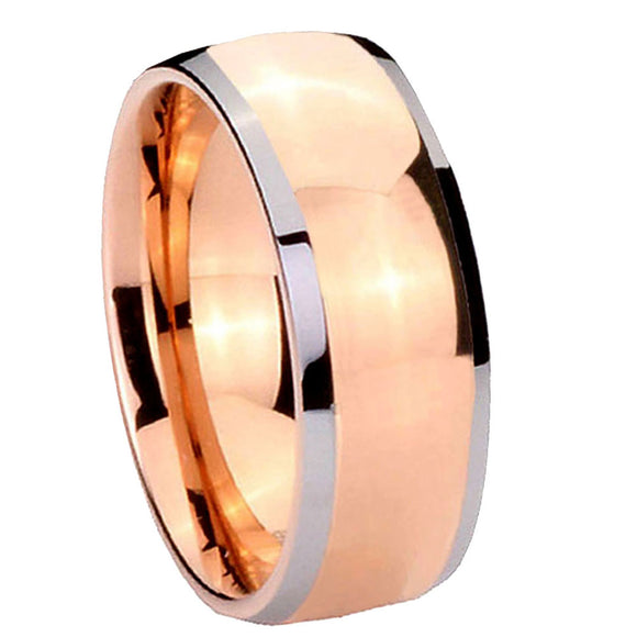 8MM Tungsten Carbide Rose Gold Dome IP Beveled Silver Edges Men Ring