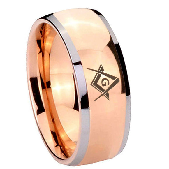 8mm Freemason Masonic Dome Rose Gold Tungsten Carbide Men's Ring