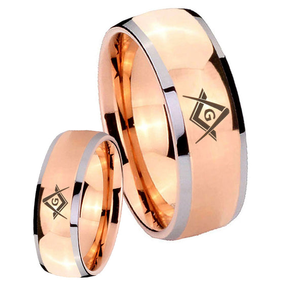 His and Hers Freemason Masonic Dome Rose Gold Tungsten Mens Wedding Band Set