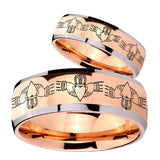 His Hers Irish Claddagh Dome Rose Gold Tungsten Mens Ring Personalized Set