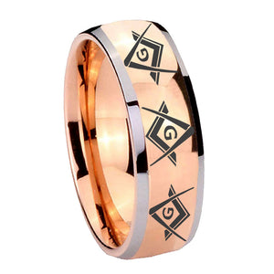 8mm Master Mason Masonic  Dome Rose Gold Tungsten Wedding Engraving Ring