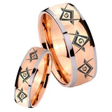 His Hers Master Mason Masonic  Dome Rose Gold Tungsten Custom Mens Ring Set