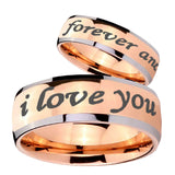 His Hers I Love You Forever and ever Dome Rose Gold Tungsten Men's Band Ring Set