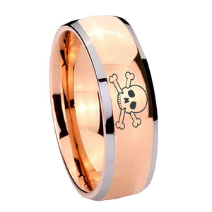 8mm Skull Dome Rose Gold Tungsten Carbide Mens Engagement Band