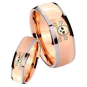 Bride and Groom Skull Dome Rose Gold Tungsten Carbide Mens Engagement Band Set