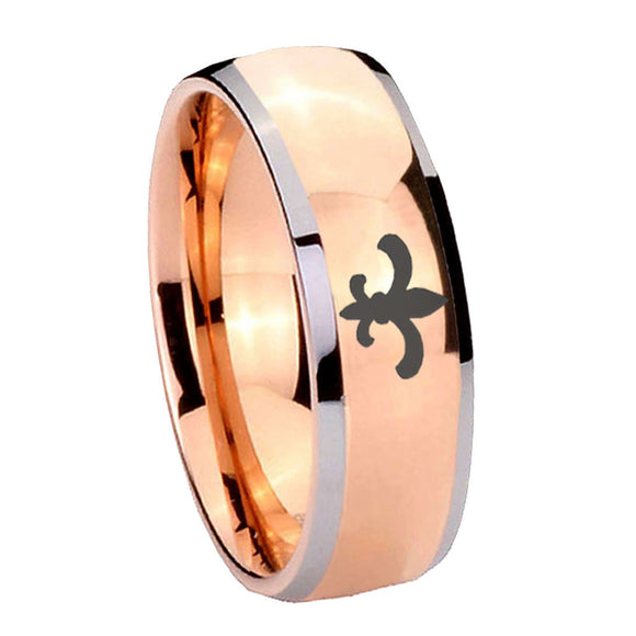 8mm Fleur De Lis Dome Rose Gold Tungsten Carbide Men's Engagement Ring