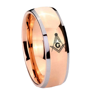 8mm Master Mason Masonic Dome Rose Gold Tungsten Carbide Men's Band Ring