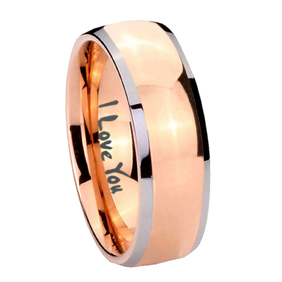 8mm I Love You Dome Rose Gold Tungsten Carbide Wedding Band Ring