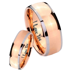Bride and Groom I Love You Dome Rose Gold Tungsten Wedding Engraving Ring Set