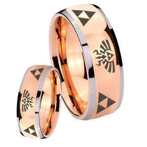 Bride and Groom Legend of Zelda Dome Rose Gold Tungsten Mens Promise Ring Set