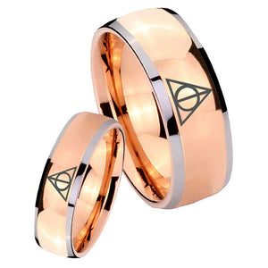 His and Hers Deathly Hallows Dome Rose Gold Tungsten Men's Wedding Band Set