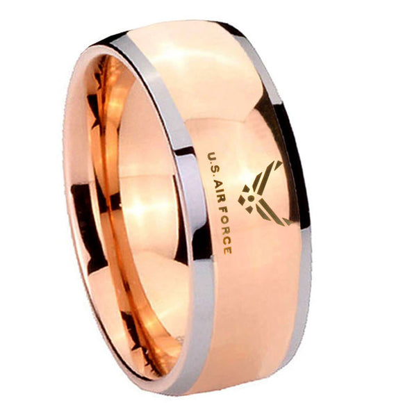 8MM Rose Gold Dome US Air Force 2 Tone Tungsten Carbide Laser Engraved Ring