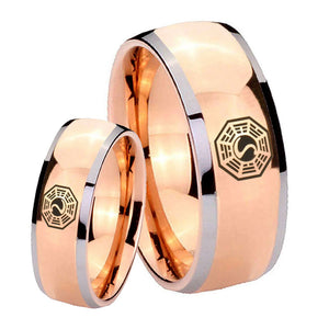 Bride and Groom Lost Dharma Dome Rose Gold Tungsten Carbide Men's Bands Ring Set
