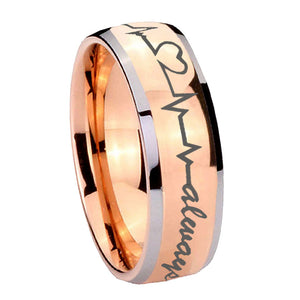 8mm Heart Beat forever Heart always Dome Rose Gold Tungsten Mens Engagement Ring