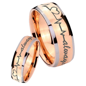 His Hers Heart Beat forever Heart always Dome Rose Gold Tungsten Men Rings Set