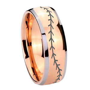 8mm Baseball Stitch Dome Rose Gold Tungsten Carbide Mens Promise Ring