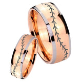 Bride and Groom Baseball Stitch Dome Rose Gold Tungsten Carbide Men's Ring Set