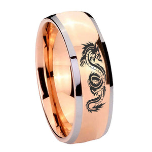 8mm Dragon Dome Rose Gold Tungsten Carbide Wedding Engraving Ring
