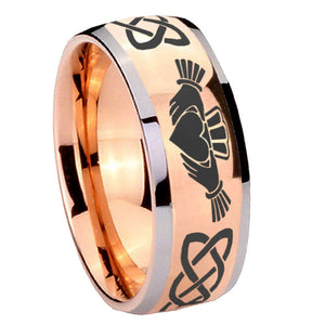8mm Irish Claddagh Dome Rose Gold Tungsten Carbide Mens Ring Personalized
