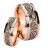 Bride and Groom Celtic Knot Dragon Dome Rose Gold Tungsten Rings for Men Set