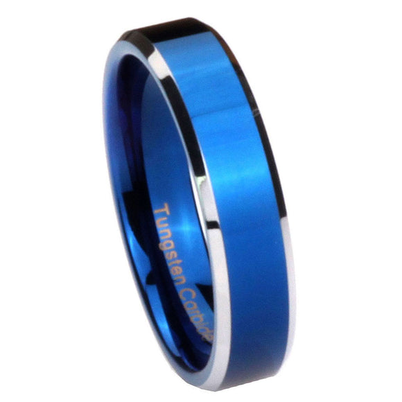 5MM Tungsten Carbide Blue IP Beveled Silver Edges Women Bands Ring