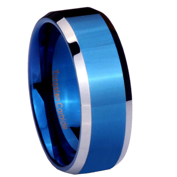8MM Tungsten Carbide Blue IP Beveled Silver Edges Men Bands Ring
