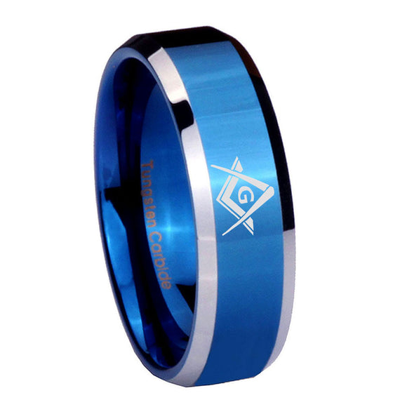8mm Freemason Masonic Beveled Edges Blue 2 Tone Tungsten Anniversary Ring