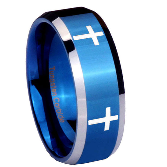8mm Crosses Beveled Edges Blue 2 Tone Tungsten Carbide Bands Ring