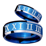 His Hers Roman Numeral Beveled Edges Blue 2 Tone Tungsten Men's Ring Set