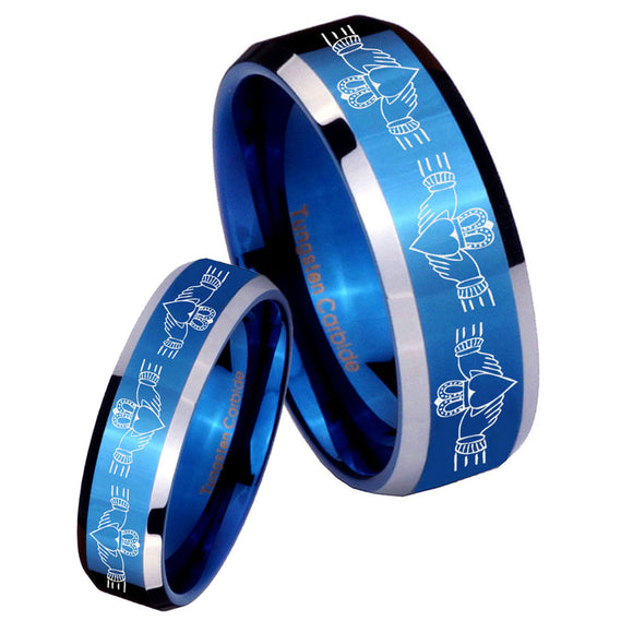 His Hers Irish Claddagh Beveled Edges Blue 2 Tone Tungsten Ring Set