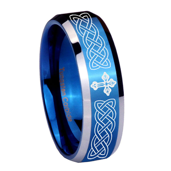 8mm Celtic Cross Beveled Edges Blue 2 Tone Tungsten Carbide Mens Ring