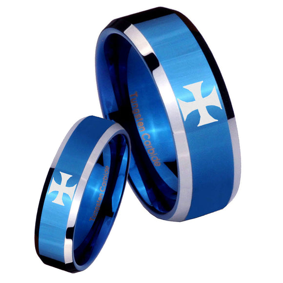 His Hers Maltese Cross Beveled Edges Blue 2 Tone Tungsten Mens Wedding Ring Set