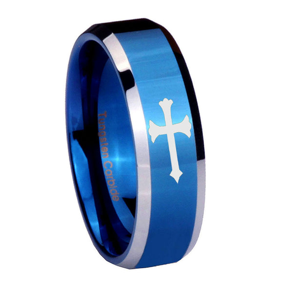 8mm Christian Cross Beveled Edges Blue 2 Tone Tungsten Men's Wedding Band