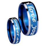 8mm I Love You Forever and ever Beveled Blue 2 Tone Tungsten Mens Wedding Ring