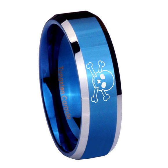 8mm Skull Beveled Edges Blue 2 Tone Tungsten Carbide Men's Band Ring