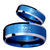 His Hers Skull Beveled Edges Blue 2 Tone Tungsten Mens Engagement Band Set