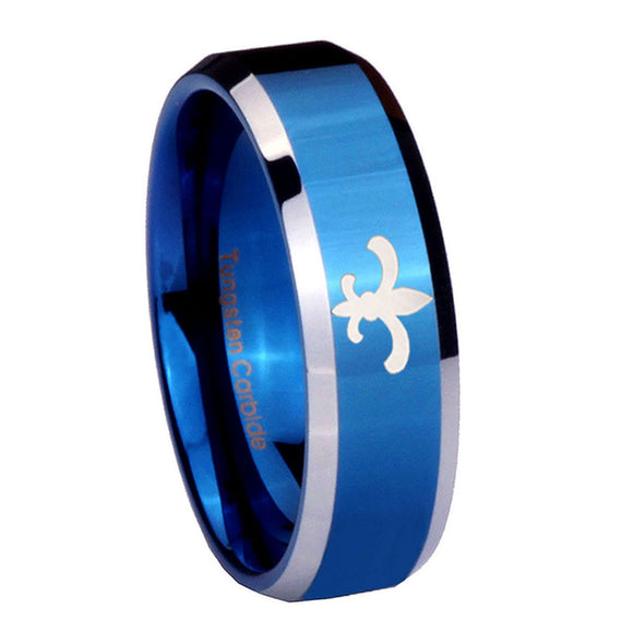 8mm Fleur De Lis Beveled Edges Blue 2 Tone Tungsten Carbide Rings for Men